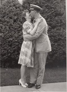 World war II Soldier Kissing His Girl Goodbye
