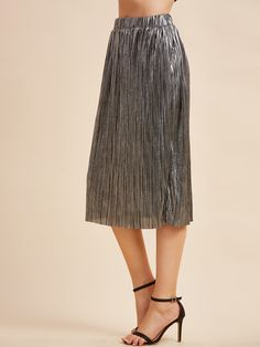 14$  Watch now - http://dip4c.justgood.pw/go.php?t=8847 - Metallic Grey Elastic Waist Pleated Straight Skirt