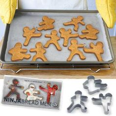 Ninjabread Men Cookie Cutters and more Great Gifts at Perpetual Kid. Ninjabread Men Cookie Cutters are cut out for action! These stealthy shinobi warriors are s Gingerbread Man, Gingerbread Cookies, Christmas Cookies, Food Bakery, Do It Yourself Inspiration, Man Cookies, Sweet Cookies, Gula, Good Food