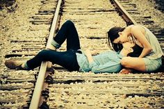 Pre wedding shot-abandon railway track at near King Albert Park