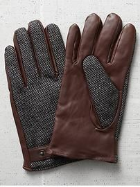 A cool twist on the classic mens leather glove - Scotch & soda men's leather tweed gloves Mens Gloves, Leather Gloves, Leather Men, Leather Jackets, Look Fashion, Mens Fashion, Fashion Menswear, Tweed, Herren Style