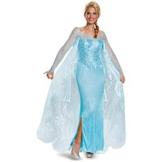 Frozen: Womens Prestige Elsa Costume ($85) ❤ liked on Polyvore featuring costumes, disney, costume, halloween costumes, queen hearts costume, sequin costume, lady costumes, wigs costume and snowflake halloween costume