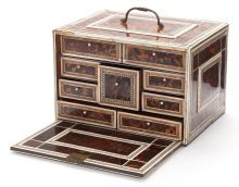 Decorative Arts, Continental:Other , AN INDO-PORTUGUESE ROSEWOOD, IVORY AND TORTOISESHELL CABINET . 19thcentury. 8-3/4 x 13 x 9-5/8 inches (22.2 x 33.0 x 24.4 ...