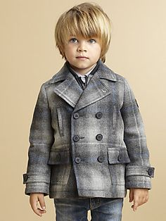 Keep the kiddos warm..Armani+Junior Toddler's+&+Little+Boy's+Plaid+Peacoat+&+Interior+Vest