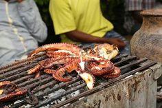 Grilled octopus.street food at forodhani zanzibar