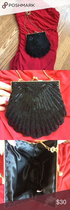 "Beautiful beaded evening bag Black beaded with ""gold"" clasp and chain. Chain can be tucked in to use as a clutch, or is long enough to be used as a shoulder bag or crossbody. No missing beads. Super cute! Bags Clutches & Wristlets"