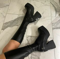 Edgy Outfits, Knee Boots, Outfit Ideas, Coat, Clothes, Shoes, Style, Fashion, Outfits