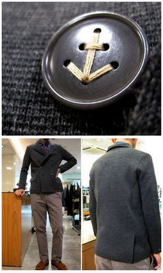 Mando Milano Rib Jacket. Love the button detail. This button alone has been all over Tumblr, Pinterest, and other sites. It's part of a mensware cardigan/jacket. Also if you clicked on other parts of this site with ordinary men modeling the clothes it shows you not to judge a book/button by its cover/photograph here: http://www.district.jp/blog/cat16/index_9.html  Manufactured by District United Arrows in Japan.