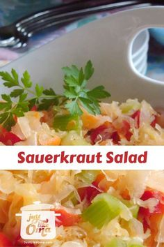 Here's a sauerkraut salad that is so easy and delicious. It's great for a summer BBQ as well as absolutely delicious with Oktoberfest style pork hocks. I would cut out the sugar to make this healthier Sauerkraut Salad Recipe, Sauerkraut Recipes, Cabbage Recipes, German Salads, Side Dish Recipes, Dinner Recipes, Traditional German Food, Pork Hock, Comfort Food