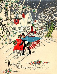 Christmas couple, very merry christmas, christmas scenes, christmas, Christmas Couple, Old Christmas, Old Fashioned Christmas, Christmas Scenes, Victorian Christmas, Retro Christmas, Christmas Greetings, Vintage Christmas Images, Vintage Holiday