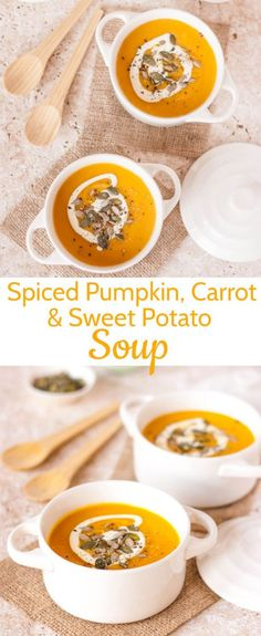 Spiced Pumpkin, Carrot, and Sweet Potato Soup is full of delicious fall flavours and perfect if you celebrate American Thanksgiving. The post Spiced Pumpkin, Carrot & Sweet Potato Soup autumn scenery appeared first on Trendy. Spiced Pumpkin Soup, Pumpkin Spice, Sweet Potato Pumpkin Soup, Pumpkin Soup Recipes, Fall Soup Recipes, Sweet Pumpkin Soup Recipe, Healthy Pumpkin Soup, Autumn Recipes Baking, Autumn Recipes Vegan