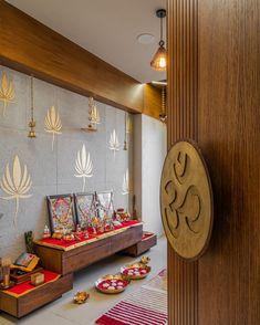 Pooja Room Door Design, Home Room Design, Home Interior Design, Living Room Designs, Temple Design For Home, Indian Home Design, Living Room Partition Design, Room Partition Designs, Indian Room Decor