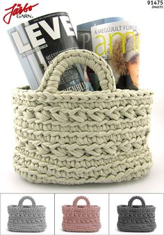 Crochet newspaper bag.