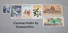 Reserved Custom Order for Valerie .. Unused Vintage US Postage Stamps by TreasureFox on Etsy