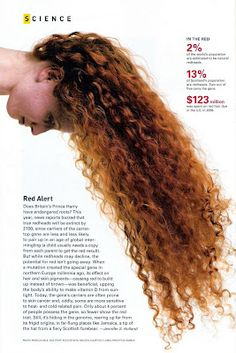 2% of the world's population are born with red hair. 13%of Scotland's population are redheads. 2 out of 5 carry the gene. 125 million dollars was spent on red hair dye in 2008. It is estimated that true redheads will be extinct by 2100 (scary!!).