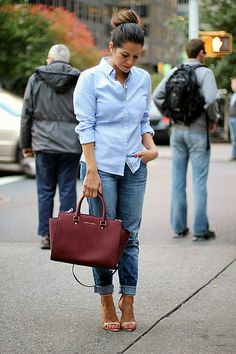 Banana Republic Oxford & Current Elliott Boyfriend Jeans, with a side of Michael Kors