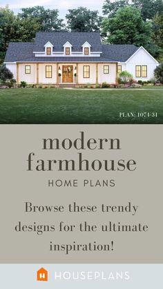 Modern Farmhouse Plans, Farmhouse Chic, Country Farmhouse, Modern Landscaping, House Layouts, Modern Family, House Plants, Retirement, Empty