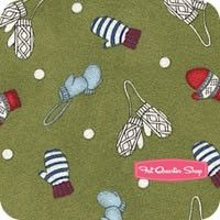 Frolic in the Snow Flannel Green Mittens Yardage <br/>SKU