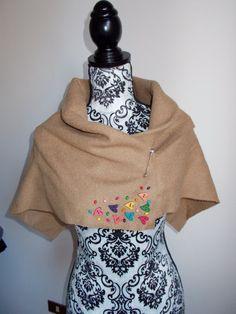 Scialle in lana cotta con cuori di Armonieinlilla su Etsy
