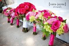 pink green bouquets