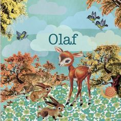 Retro vintage Geboortekaartje Olaf- Nostalgisch herfst kaartje met hert en konijnen - Petit Konijn