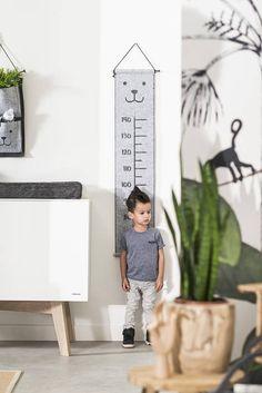 Growth Chart Grey Felt Teddy Bear Nursery Kids Room