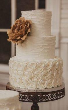 Three Tier White Textured Wedding Cake Textured Wedding Cakes, Wedding Cake Rustic, Elegant Wedding Cakes, Wedding Cake Designs, Wedding Cake Toppers, Trendy Wedding, Rustic Cake, Cake Wedding, Vintage Wedding Cakes