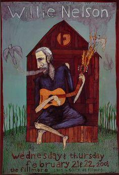 Willie Nelson - February 22, 2001 - The Fillmore SF - Artist: Joel Elrod F439-PO