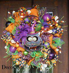 Orange Burlap Halloween Wreath with a HAPPY BLACK CAT by decoglitz