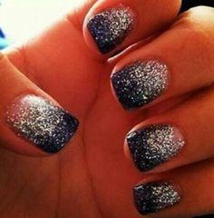 #dark blue! #glitter! #nails!