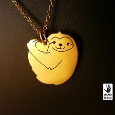 Heart Cute SLOTH  goldplated solid sterling silver by StefanoArt