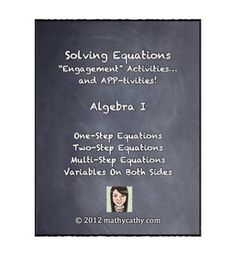 TpT SALE! Up to 28% Off - August 18 & 19!  Solving Equations Unit - Engagement Activities and APP-tivities!  ALGEBRA or PRE-ALGEBRA