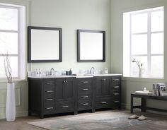 """Caroline Avenue 90"""" Double Bathroom Vanity Cabinet Set - Virtu USA"""