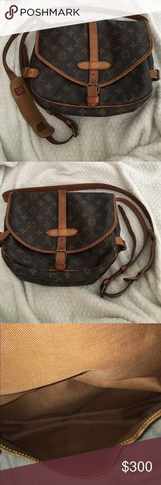 Louis Vuitton Saumur 30 Used and definitely vintage appearance. I purchased this bag from theladybag.com and have used it a few times. There are imperfections on the outside and patina on the trim & strap, but the inside is still in perfect condition. The clasps still work. If you are interested I would like to send additional pictures of the crossbody strap and inside so you are 100% informed about what you are receiving. Price reflects condition! Make me an offer, I will work with you…