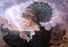 Magic realism, Fantastic realism, Fine art surreal painting of a woman with a snail shell sitting in a surrealistic landscape
