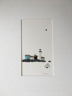 Kiesel Kunst Seelandschaft mit Leuchtturm und Boote von Sharon