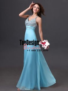 Wholesale Vestidos De Fiesta 2017 Brand New Halter Beading Blue Chiffon Prom Dresses