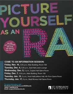 Come to an Information Session and learn all about the RA Life and the application process!