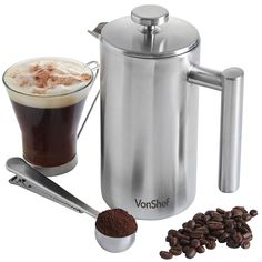 VonShef Double-Wall Keep Warm Satin Brushed Stainless Steel French Press Cafetiere Coffee Filter(6 Cup w/ Measuring Spoon and Sealing Clip). Available in sizes 3, 6 and 8 Cup *** For more information, visit image link.