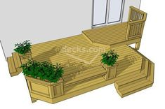 214 sf 2 level deck with benches, planter  boxes and cascading stairs, download any of the 12 different sized  deck plans for free #deckplans #deckbuildingplans