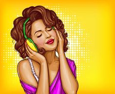 Young pretty woman in vintage headphones listening music with closed eyes pop art vector illustration on dotted background. Curly girl music lover relaxing when enjoying her favorite song. Art Vintage, Vintage Poster, Vintage Design, Vintage Music, Pop Art Vector, Retro Vector, Vector File, Girl With Headphones, Music Headphones