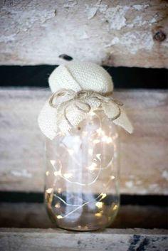 Battery fairy lights in a jar