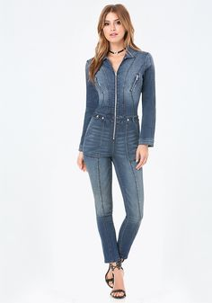 1e926034cd Manny Denim Zip Jumpsuit. Jeans MaterialDenim JumpsuitOverallsCuff  SleevesPlaysuit RomperStretch DenimJumpsuits For WomenStylish OutfitsStylish  Clothes