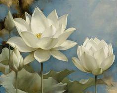 Cuadros Modernos Pinturas : Cuadros Con Flores En Color Blanco, Pintados por…