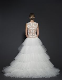 NAEEM KHAN Spring 2016  Style 'Buenos Aires'. Ivory tulle beaded wedding gown with tiered tulle skirt.