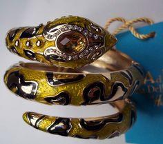 ANNA DELLO RUSSO YELLOW GOLD ENAMEL SNAKE SERPENT BRACELET HAUTE COUTURE BOXED