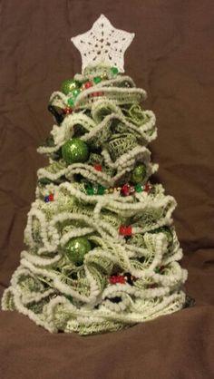 Sashay Christmas Tree Ruffle Yarn Projects, Sashay Yarn Projects, Christmas Holidays, Christmas Decorations, Xmas, Christmas Ornaments, Holiday Decor, Christmas Trees, Easy Yarn Crafts