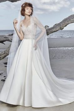 Saylor by Sottero & Midgley Wedding Dresses. Beautiful beaded bodice bridal gown with full satin skirt. Collection starts at $1,200 & up. Make an appointment at Precious Memories in Boston, Ma. 781-397-1336. Popular Wedding Dresses, Designer Wedding Dresses, Tulle Ball Gown, Ball Gowns, Sottero And Midgley Wedding Dresses, Sottero Midgley, Bridal Gowns, Wedding Gowns, Tulle Wedding