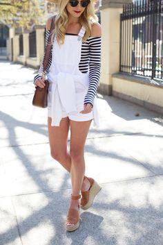 city // stripes | // Atlantic-Pacific// love the white overalls
