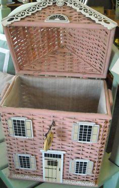 Pink Wicker Hamper Doll House fabric lined Basket - by BelSognoMarketplace Backyard Garden Landscape, Small Backyard Gardens, Tropical Backyard, Garden Pond, Paper Basket Weaving, Wicker Hamper, Newspaper Crafts, Diy And Crafts, Decorative Boxes